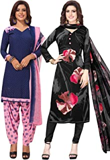 S Salwar Studio Women's Pack of 2 Synthetic Printed Unstitched Dress Material Combo-MONSOON-2880-2888
