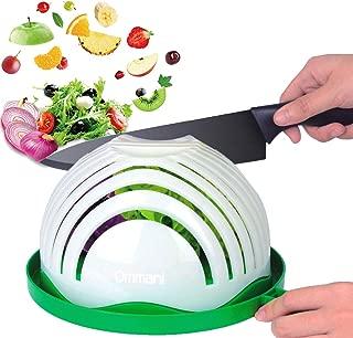 Salad Cutter Bowl, Ommani Upgraded Salad Maker Family Size Fast Vegetable Cutter Bowl, Salad Slicer Salad Chopper Strainer Cutting Board 4 in 1 Durable FDA-Approved for Kitchen