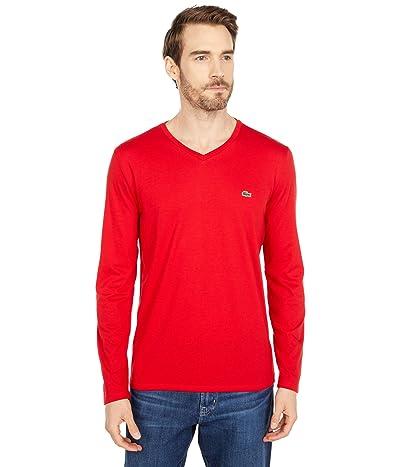 Lacoste Long Sleeve Pima Jersey V-Neck T-Shirt (Red) Men