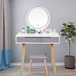 YOURLITE Vanity Table Set with 3 Modes Adjustable Brightness Mirror and Cushioned Stool, Dressing Table Vanity Makeup Tabl...