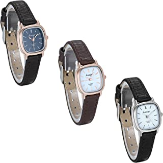 JewelryWe Pack of 3 Wholesale Fashion Womens Quartz Small Square Dial Leather Strap Classic Ladies Dress Watches