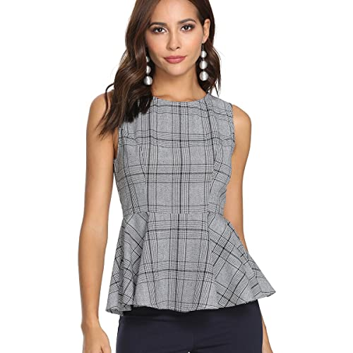 a4b1a782 Romwe Women's Sleeveless Elegant Gingham Print Peplum Hem Blouse Shirts Top