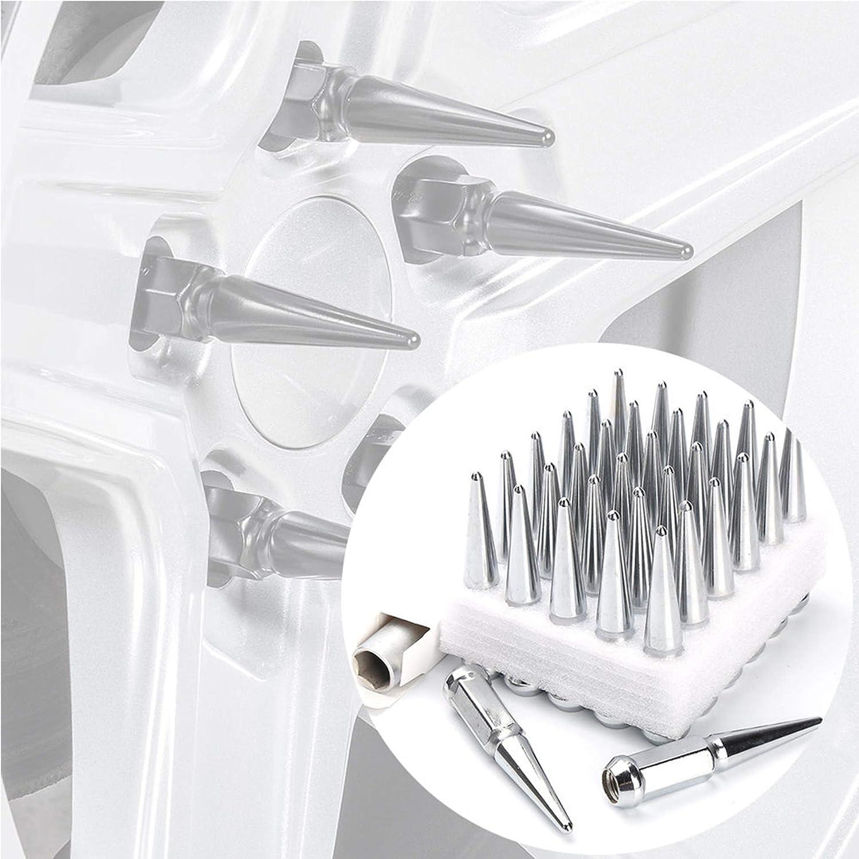 24pc Spike Lug Nut 14x2 Black 4.4 Tall Offroad Extended Metal Lugs Premium