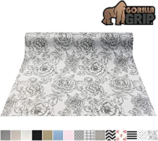 Gorilla Grip Original Smooth Top Slip-Resistant Drawer and Shelf Liner, Non Adhesive Roll, 12 Inch x 20 FT, Durable Kitchen Cabinet Shelves, Strong Liners for Kitchens Drawers and Desks, Floral Gray