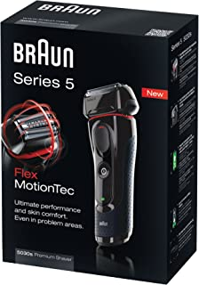 Braun series 5 electric razor 5030s with precision trimmer, black/red.