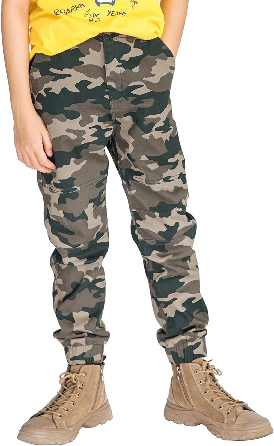M.D.K Boys Relaxed Camouflage Pattern Zipper Up Button Pocket Jogger Pants