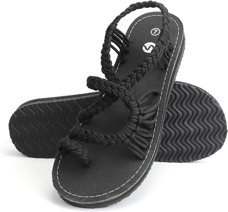 Rekayla Flat Sandals - Braided Rope Summer Sandals for Women
