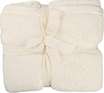 Ivory Fluffy Blanket, Thicker, Loftier Fabric for Added Warmth, 68 x 90, TWIN