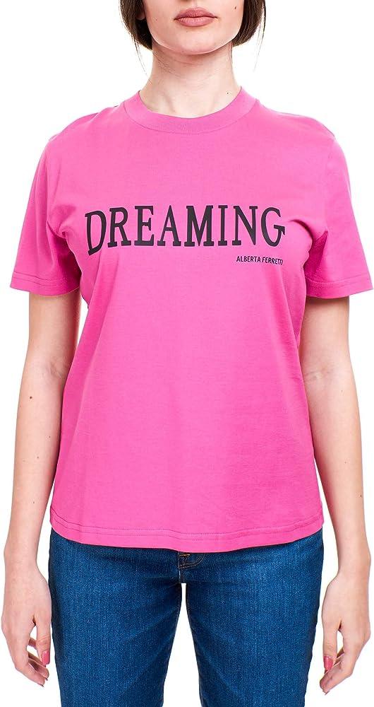 Alberta ferretti t-shirt,maglietta applicazione dreaming gommato a contrasto frontale,100% cotone