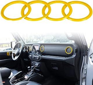 Bonbo Interior Trim Kit Dashboard Air Conditioner Vent Ring Interior Accessories for 2018 2019 2020 2021 Jeep Wrangler JL JLU & Gladiator JT (Yellow)