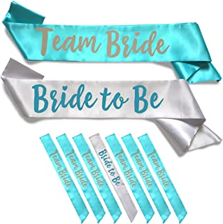 Team Bride 7pc Satin Sash Set - Sophisticated & Fun Party Favors for Bachelorette Party, Bridal Shower & Wedding Party (7pc Set, White & Teal)