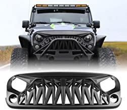 ICARS Matte Black Shark Grill Front Cover for 2007-2018 Jeep Wrangler JK JKU Accessories & Unlimited, ABS