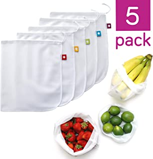 (White) - flip and tumble Set of 5 Reusable Produce Bags