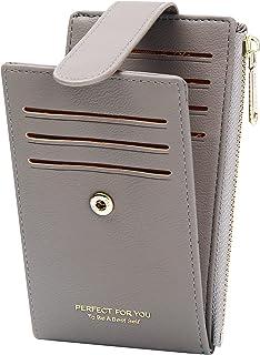 ZRTARY Slim Card Holder Wallets for Women RFID Bifold Card Case Money Organizer with Zipper Pocket