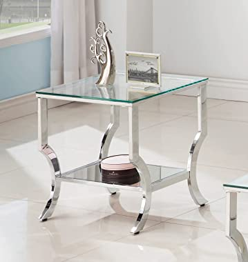 Coaster Square End Table with Mirrored Shelf Chrome, Chrome/Tempered Glass