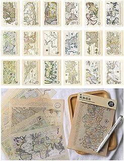 Layhome Lot de 30 feuilles d'autocollants en papier adhésif pour scrapbooking Motif vintage 11 x 17 cm