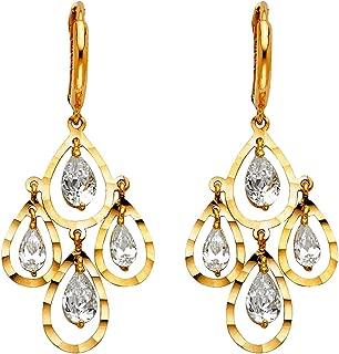 14K Yellow Gold CZ Stone chandelier Pear Cut Dangle Hanging Drop Huggies Hinged Earrings Ioka
