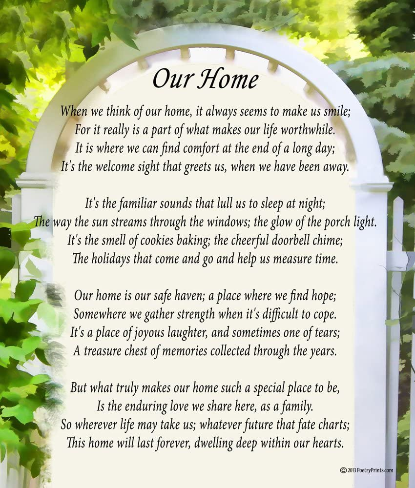Amazon Com Our Home Poem Print 8x10 Beautiful Holiday Or Housewarming Gift Posters Prints