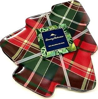 Tommy Bahama Tartan Plaid Christmas Tree Appetizer Plates, Set of Four 100% Melamine Brand New Dishwasher Safe