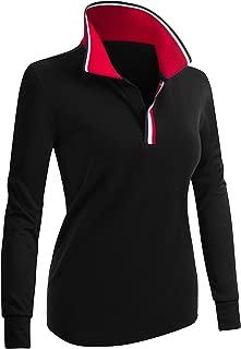 CLOVERY Women's Polo Shirts Point Collar Design Long Sleeve