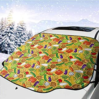 Faktcp Windshield Sunshade Windshield Sunshade for Car Visor Shield Cover, Vegetables,Autumn Meal Sunflower UV Ray Reflector Weatherproof (Large 57.9 x 46.5 in)