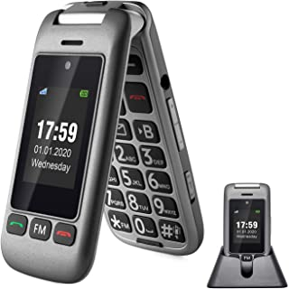 artfone 3G Unlocked Senior Flip Cell Phone,Senior Phone with Charging Cradle and Large Screen for Elderly(Compatibility Na...