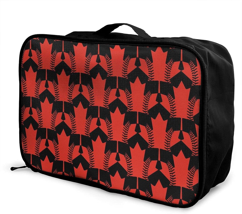 Foldable Travel Bag Tote Canada Carry-On Maple Baseball Leaf half Nashville-Davidson Mall Tot