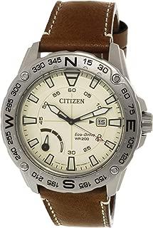 Men's AW7040-02A Matte Silver Leather Japanese Quartz Sport Watch