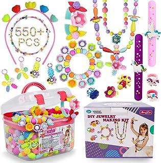 Pop Beads - 500+Pcs DIY Jewelry Making Kit for Toddlers 3, 4, 5, 6, 7 ,8 Year Old, Kids Pop Snap Beads Set to Make Hairban...