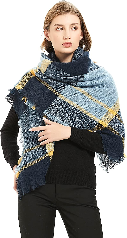Fatu Fashion Women's Fall Scarves Tassel Plaid Scarf Infinity Scarf Triangle Cashmere Scarf Large Blanket Wrap Shawl