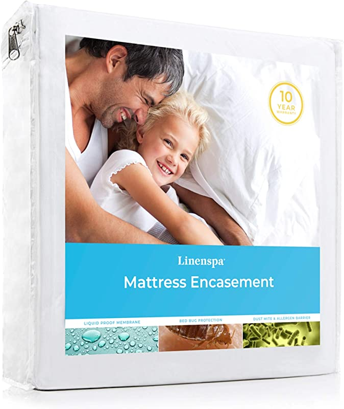 LINENSPA Zippered Encasement Waterproof Dust Mite Proof Bed Bug Proof Hypoallergenic Breathable Mattress Protector Queen Size