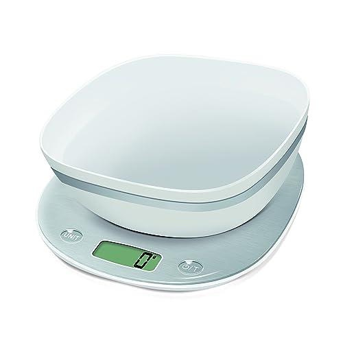 Terraillon Balance de Cuisine, Avec Bol, Tare, Conversions Liquides, Poignée intégrée, Portée 5 kg, Macaron, Givrée