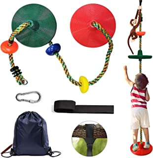 DITUCU Climbing Rope Tree Swing with Multicolor Platforms and 2 Disc Swing Seat Sets Outdoor Playground Play Set Accessori...