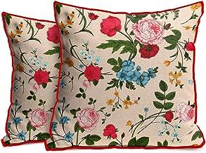 Generic Designer Jute Flowers Pattern Cushion Cover, 12x12inch(Multicolour) - Set 2