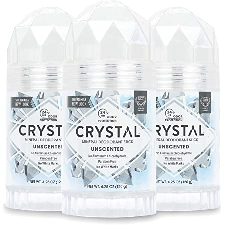 CRYSTAL Mineral Deodorant Stick - Unscented Body Deodorant With 24-Hour Odor Protection, Non-Staining & Non-Sticky, Aluminum Chloride & Paraben Free, 4.25 oz, (3 Pack) (Packaging May Vary)