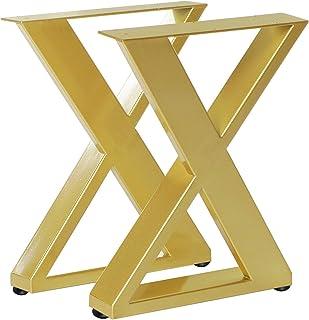 Lot de 2 pieds de table en métal en forme de X pour table de salle à manger - Robustes - Conviennent pour les meubles tels...