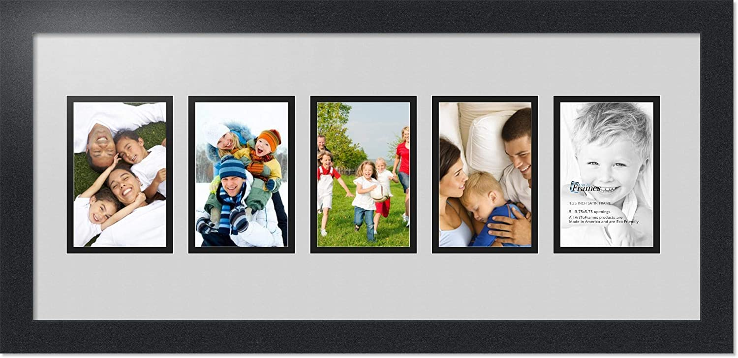 Art to Frames Double-Multimat-1183-756 89-FRBW26079 Collage Photo Frame Double Mat with 5-3.75x5.75 Openings and Satin Black Frame