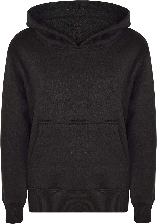 Kids Girls Boys Sweatshirt Tops Plain Black Hooded Jumpers Hoodies Age 2-13 Yr