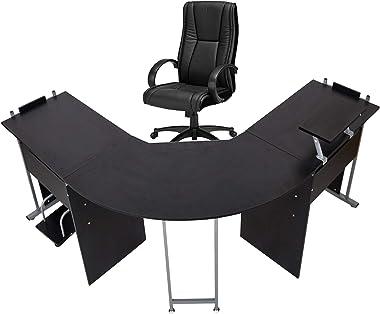 """71"""" L-Shaped Gaming Desk -Large Desktop 22"""" Wide Wood Curved Corner Office Desk -Sturdy Computer Writing Desks PC Laptop Tabl"""