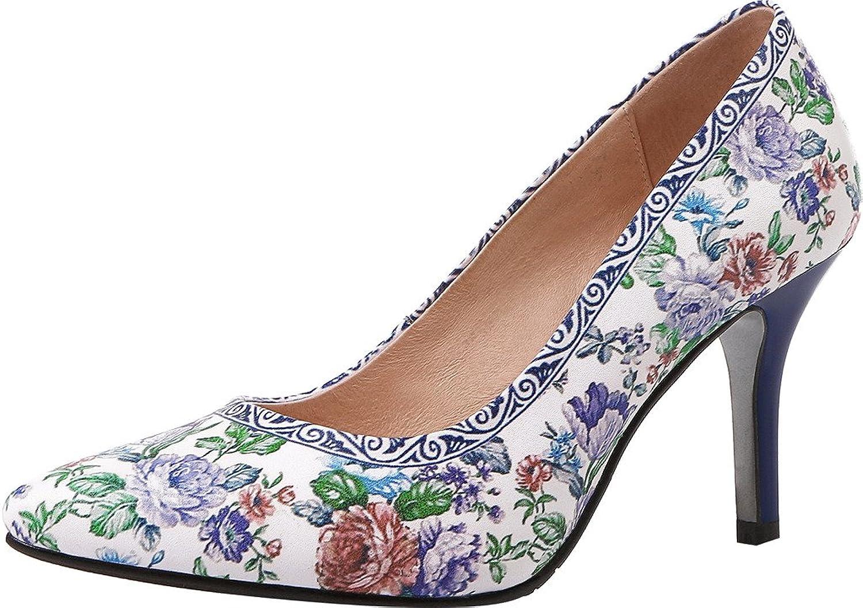 Calaier Womens Jtabd Pointed-Toe 8CM Stiletto Slip-on Pumps shoes