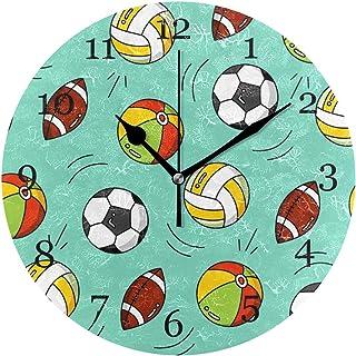 Sportboll fotboll fotboll väggklocka tyst icke-tickande 25 cm rund klocka akryl konstmålning hem kontor skoldekor