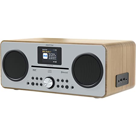 AZATOM Trinity DAB/DAB+ CD player - FM Radio - Bluetooth - Stereo Speaker System - Clock - USB charger - USB player (Oak)