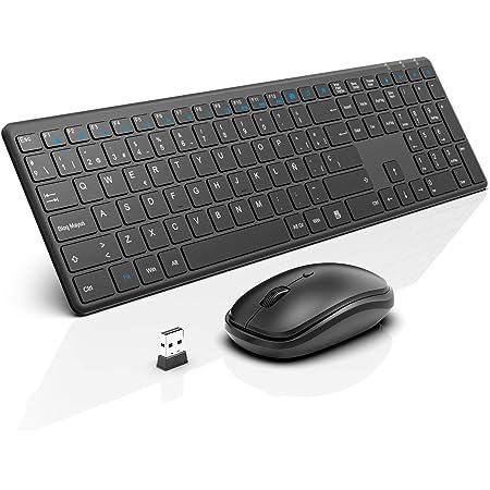 WisFox Combo de Teclado y Mouse Inalámbricos, 2.4G Mouse de Teclado Delgado de Tamaño Completo Packs con Receptor Nano para Windows, Computadora, ...