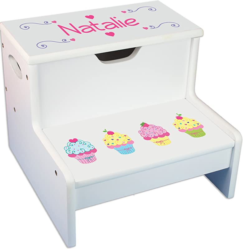 Personalized Cupcake White Childrens Step Stool With Storage