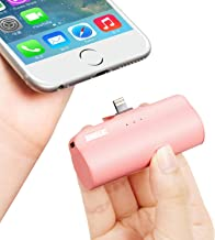 iWALK Mini Portable Charger with Built in Plug, 3300mAh Ultra-Compact Power Bank External Battery Pack Charger Compatible with iPhone 5 6 7 8 11 pro Plus X SE XS, iPad,Pink