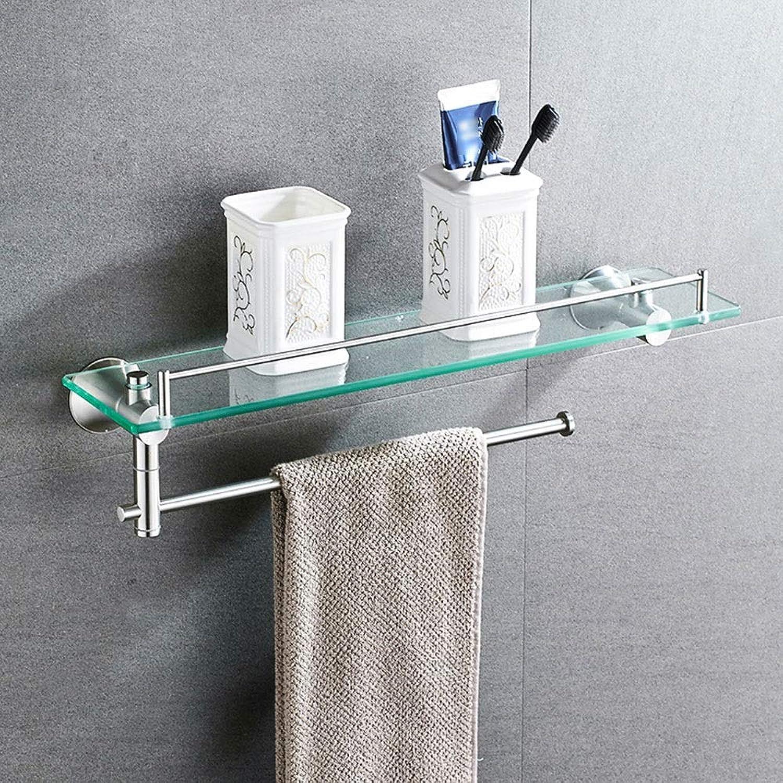HPLL Bathroom Glass Frame, 304 Stainless Steel Punch-Free Multi-Function Rack Tempered Glass Bathroom Wall-Mounted Bathroom Glass Shelf