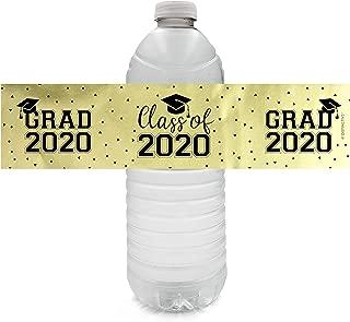 Class of 2020 Graduation Water Bottle Labels - 24 Stickers (Gold Foil)