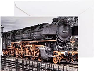 CafePress Vintage Locomotive Steam Train Greeting Card, Note Card, Birthday Card, Blank Inside Matte