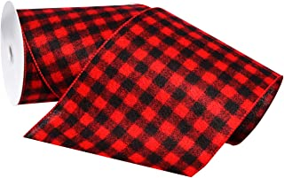 Morex Ribbon Wired Flannel Buffalo Plaid Ribbon, 6 inches by 10 Yards, Red/Black