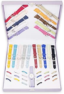 Woman's Watch Gift Set with 21 Interchangeable Faux Leather Bands & Bezels